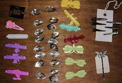 Vintage Hair Barrett's Clips Goody Metal Rhinestone Butterfly Lot Of 38