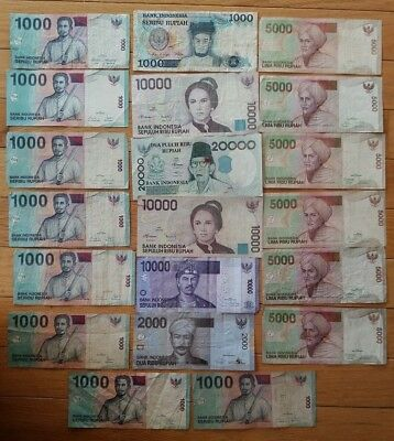 Indonesia 20 pieces banknote lot