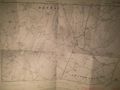 """Denton,Swingfiled,Selstead:kent:1871-1950:Land Tax Planners Map:6"""" To Mile Scale"""
