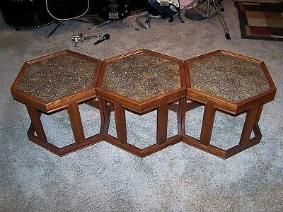 Vtg BROWN SALTMAN John Keal MID CENTURY MODERN Modular Hexagon 3 MCM End TABLES