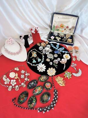 Big Vintage Lot All Floral Jewelry**6 Sets*beautiful Brooches++