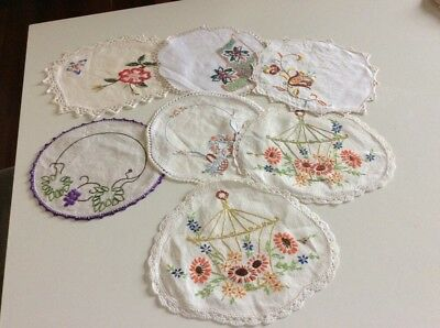 7 Small Handworked Embroidery / Embroidered Doilies  Lace  in good condition