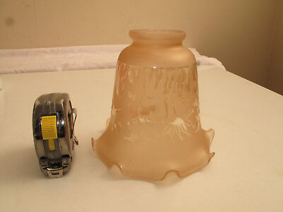 """VTG Peach Glass Art-Deco Lamp Shade Globe 2 1/8"""" Fitter Chandelier Etched Frilly"""