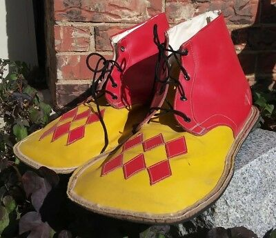 Vintage Professional Circus Clown Shoes and Hand made leather Gloves