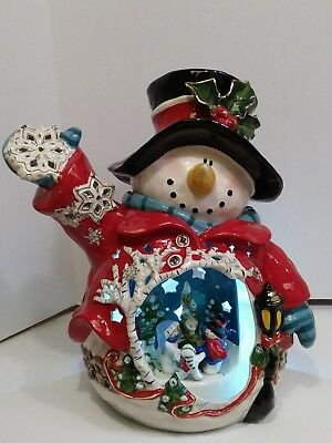 CIRCLE OF FRIENDS SNOWMAN CANDLE HOLDER by Heather Goldminc