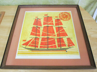 Ship Art Lithograph Framed under Glass, Signed G. Herer
