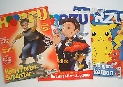 3x Hörzu TV Mecki Harry Potter Pokemon 1999/00 clippings