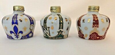 Sempe Armagnac Crown Bottle Set Limoges Porcelain Gold Ceramics France Lot of 3
