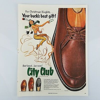 Vintage 1953 City Club by Peters Mens Shoes Print Ad Native American IndianWoman
