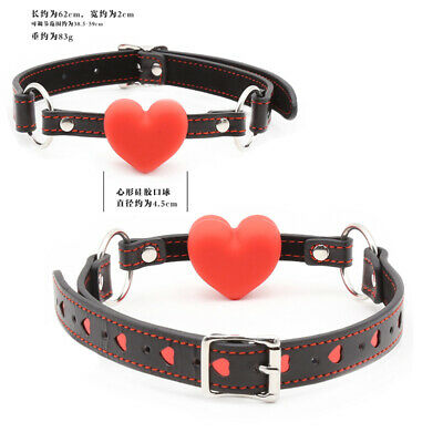 Open Mouth Gag Heart Shape Full Silicone Slave Harness Faux Leather Heart Shaped