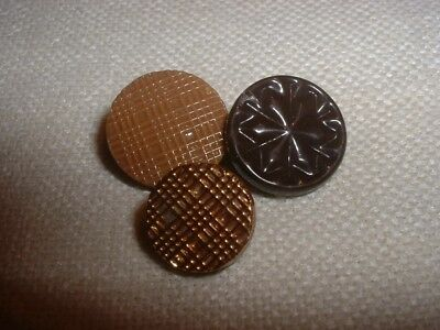 Three Antique Two-way Inserted Self Shank China Buttons - Briare, France  #c2