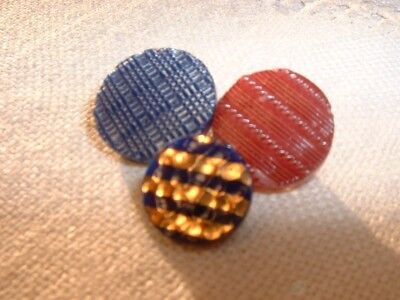 Three Antique Two-way Inserted Shank China Buttons from Briare, France #c3