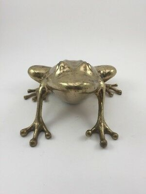 Vintage Large Heavy Brass Frog Figurine MCM Hollywood Regency