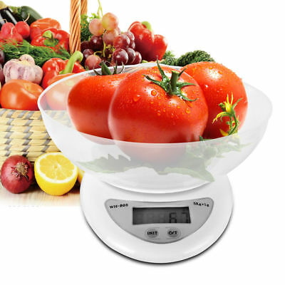White Digital Kitchen Scale Compact Diet Food Compact w/ Bowl With 2 Batteries