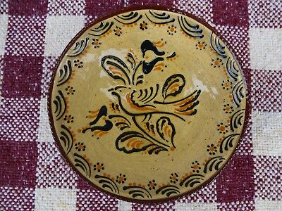 Ned Foltz Redware Plate With Bird And Floral Decoration