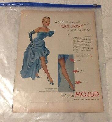 1951 Mojud stockings woman in blue Ceil Chapman ball gown vintage print ad