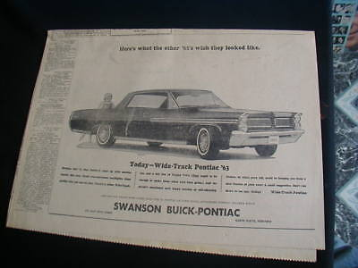 1962 pontiac bonneville newspaper ad local automobile dealer paper clipping