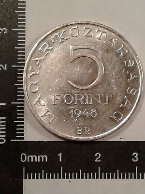 1948-Bp 5 Forint Silver Coin Hungary Commemorative Au/bu Mintage:100K Km-537*