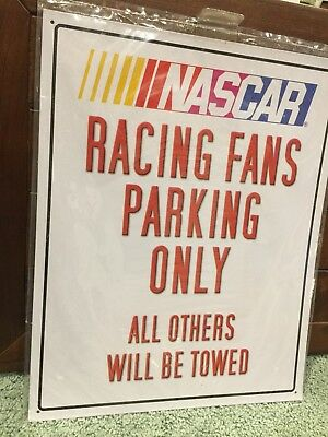 nascar racing fans metal sign new in package media parking
