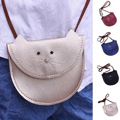Kid Girl Handbag Cute Cat Shoulder Bag Wallet PU Leather Messenger Crossbody Bag