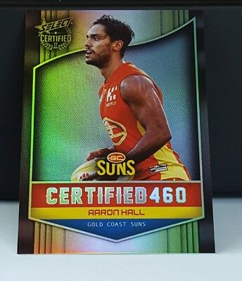 2017 AFL Select Certified 460 C92 Aaron Hall Gold Coast Suns  # 308/460