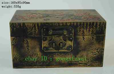 old Chinese  pure purple copper auspicious bird lucky Jewelry Box boxes