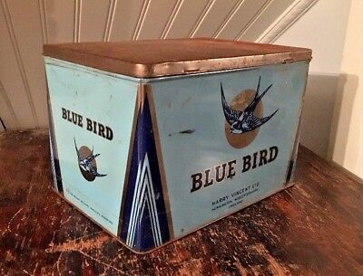 Harry Vincent Ltd Blue Bird English Toffee Vtg Tin Litho Store Advertising Box