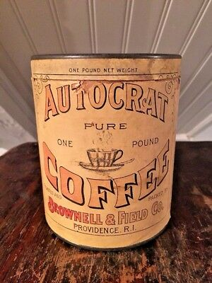 Antique Autocrat Coffee Paper Label Advertising Can Providence RI Brownell Field