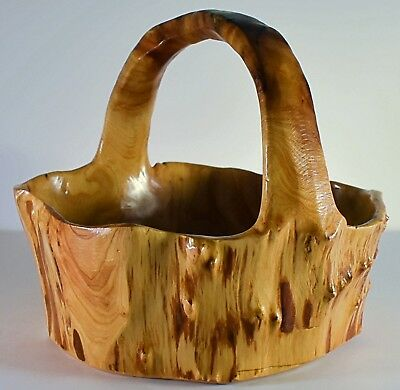 Large Natural Hand Carved Nubby Burl Wood Root Bowl/Basket with Curved Handle