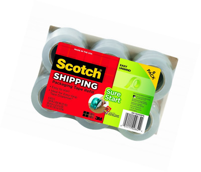 Scotch Sure Start Shipping Tape, 1.88 in. x 900 in., Clear, 2 Rolls/Pack