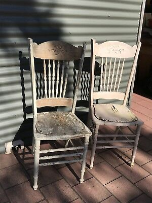 2 Vintage Rustic Spindle Back Chairs