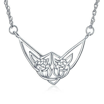 Large Irish Celtic Love Knot Work Triquetra Necklace Sterling Silver Pendant