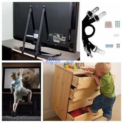 Anti Tip Flat Screen TV Saver Straps Safety Wall/Furniture Restraint Anchor FW
