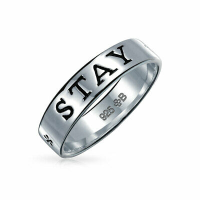 Bling Jewelry Antique Style Sterling Silver STAY STRONG Band Purity Ring