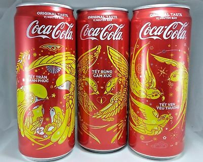 A full set of 03 different Vietnam Coca Coke Cola 330ml cans NEW YEAR 2018 *