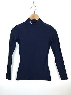 Womens Under Armour Navy Blue Spandex Fitted Long Sleeve Athletic Shirt, Small