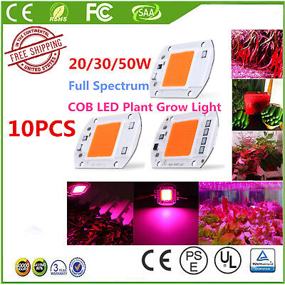 10PCS 20/30/50W Full Spectrum COB LED Chip Grow Light Plant Growing Lamp Bulb LK