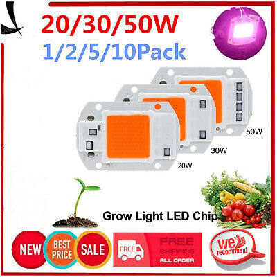 1/5/10PC 20/30/50W Full Spectrum COB LED Chip Grow Light Plant Growing Lamp Bulb