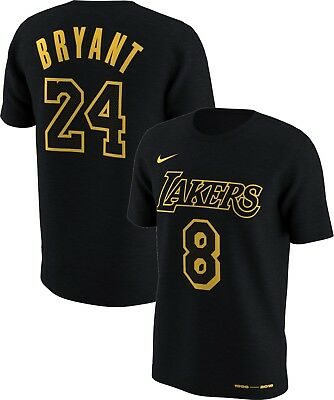 new style 4a91c f7d45 NIKE Kobe Bryant Retirement Dual number 8 24 MEN tee Black Mamba 100%  Authentic