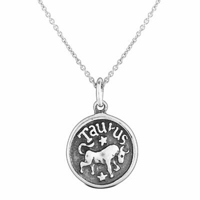 Taurus Zodiac Sign Astrology Round Medallion Pendant Necklace Sterling Silver