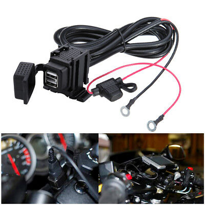 12v Waterproof  Motorcycle Motorbike 2-USB Charger Power Socket Adapter Outlet