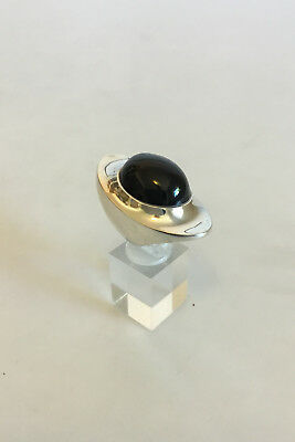 Georg Jensen Sterling Silver Ring designed by Henning Koppel with Black Stone