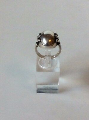 Georg Jensen Sterling Silver Ring with Silver Stone No. 51.  Ring size 54