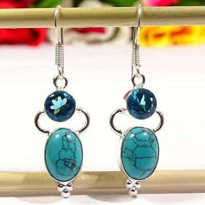 Excellent Blue Turquoise Gemstone  .925 Silver Jewelry Earring P3645