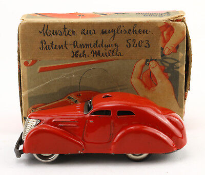 SCHUCO 3000 Fernlenk Auto Muster Patentanmeldung England OVP 30's tin toy J171
