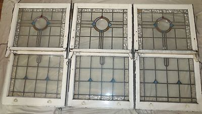 Set of 3 pairs Leadlight windows, stained glass, Deco originals.
