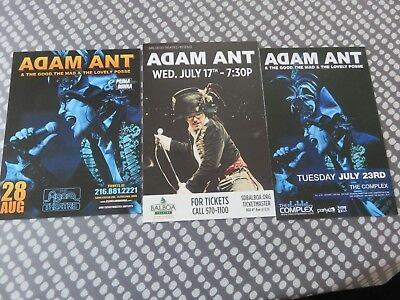 Adam Ant - 3 Rare Postcards from 2012 USA Tour L@@K - 2 sided