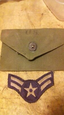 WW2 1942 US Army Military OD Green Canvas  First Aid Pouch and patch
