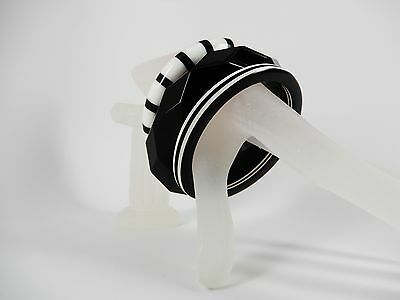 3 Lucite Bangle Bracelets Black White Stacked Thick Chunky Vintage Disco Jewelry