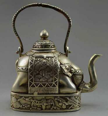 Collectible Decorate Old Handwork Tibet Silver Carve Flower Elephant Big Tea pot